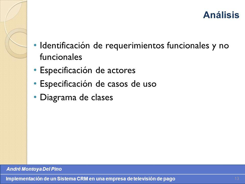 Análisis Identificación de requerimientos funcionales y no funcionales. Especificación de actores.