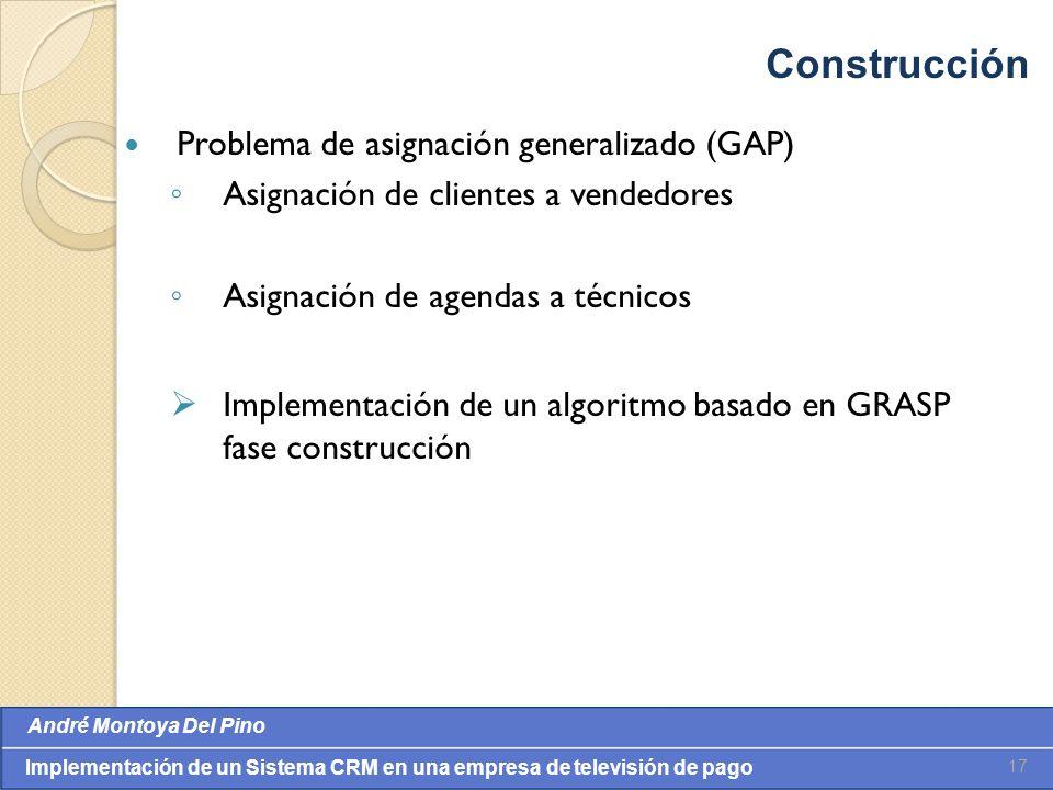 Construcción Problema de asignación generalizado (GAP)