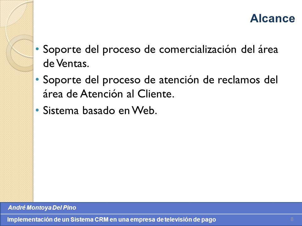 Alcance Soporte del proceso de comercialización del área de Ventas. Soporte del proceso de atención de reclamos del área de Atención al Cliente.