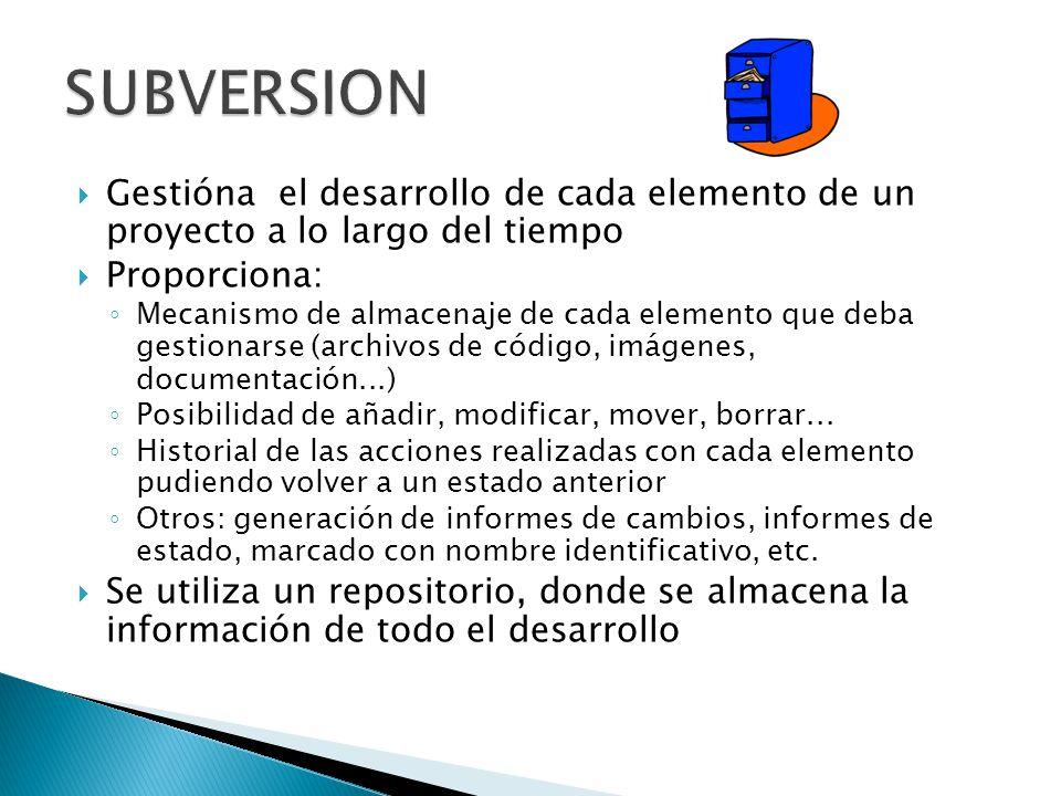 SUBVERSION Gestióna el desarrollo de cada elemento de un proyecto a lo largo del tiempo. Proporciona: