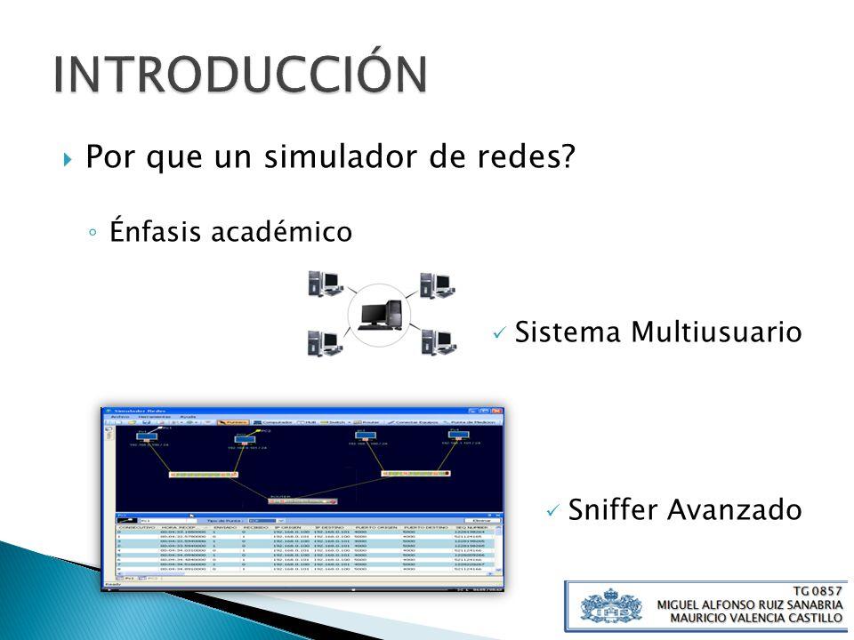 INTRODUCCIÓN Por que un simulador de redes Sistema Multiusuario