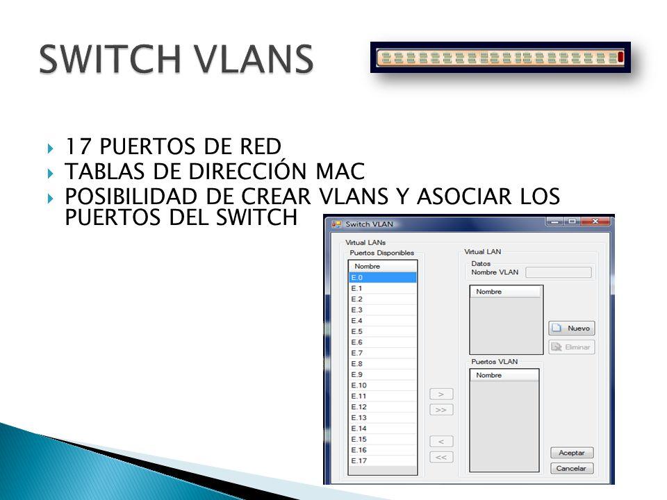 SWITCH VLANS 17 PUERTOS DE RED TABLAS DE DIRECCIÓN MAC