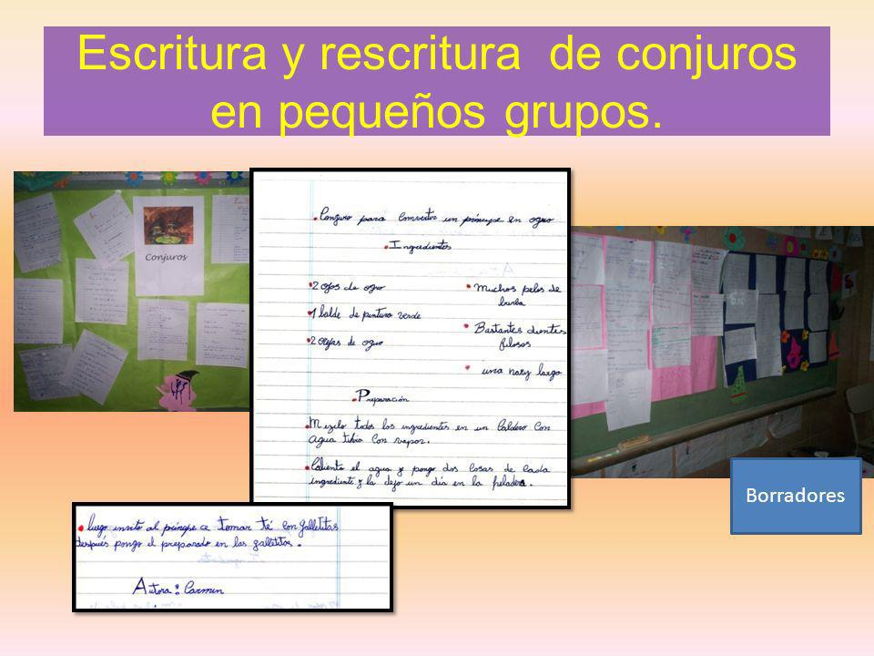 Escritura y rescritura de conjuros en pequeños grupos.