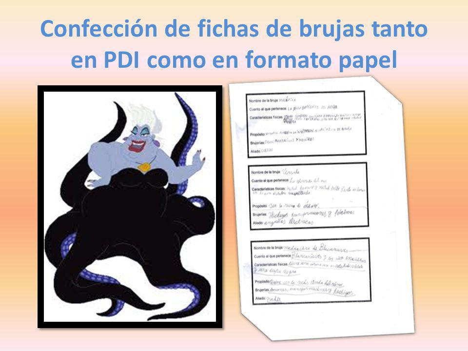 Confección de fichas de brujas tanto en PDI como en formato papel