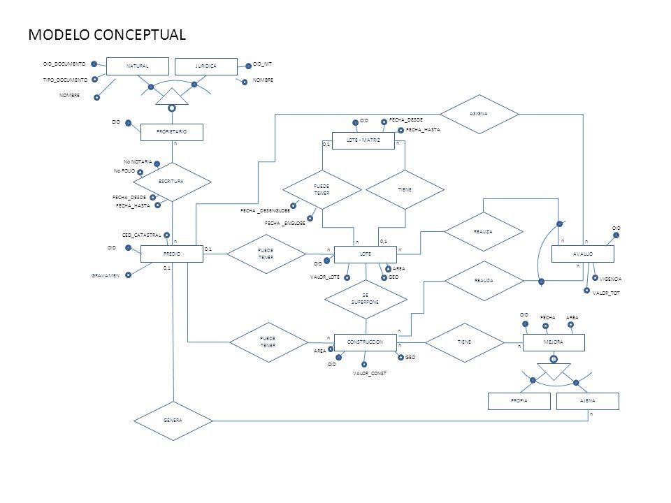 MODELO CONCEPTUAL OID_DOCUMENTO NATURAL JURIDICA OID_NIT