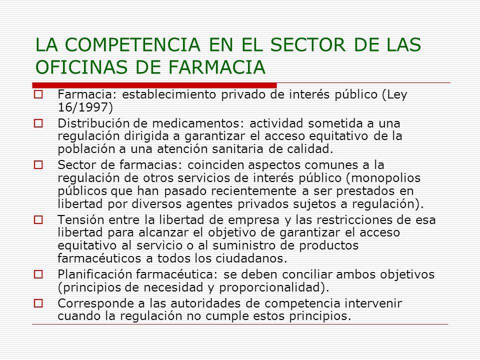 LA COMPETENCIA EN EL SECTOR DE LAS OFICINAS DE FARMACIA
