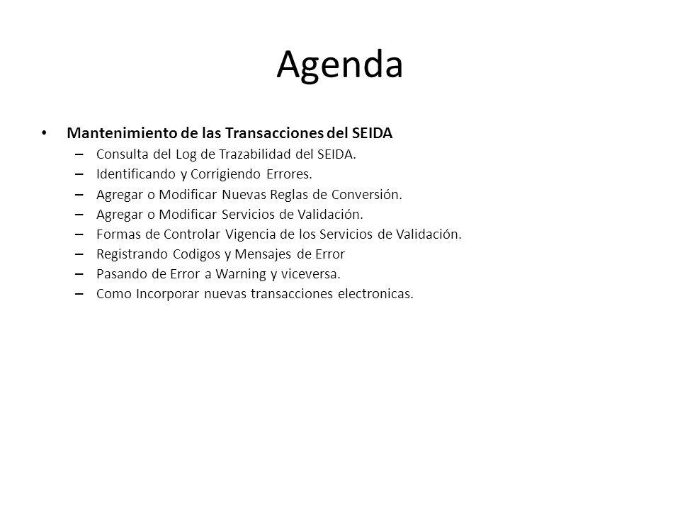 Agenda Mantenimiento de las Transacciones del SEIDA