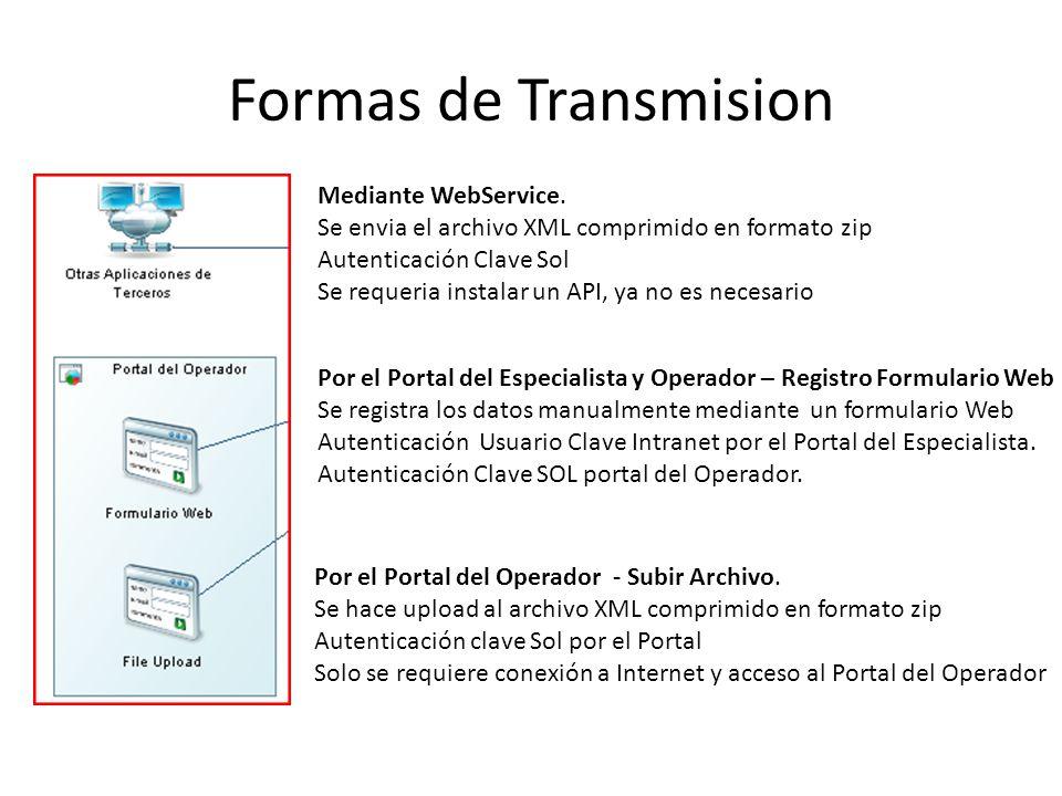 Formas de Transmision Mediante WebService.