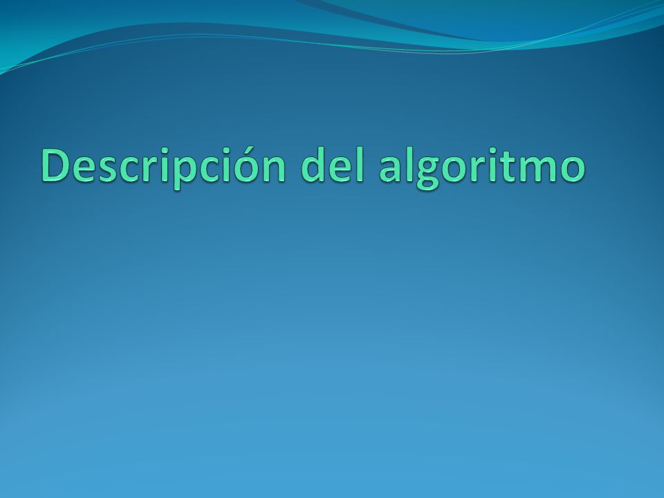 Descripción del algoritmo