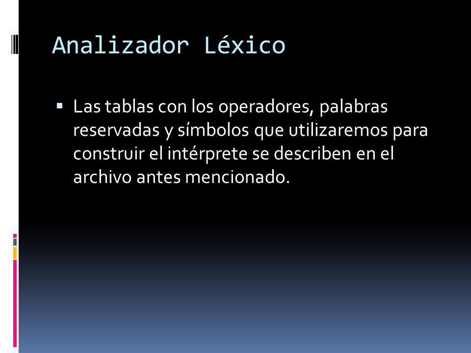Analizador Léxico