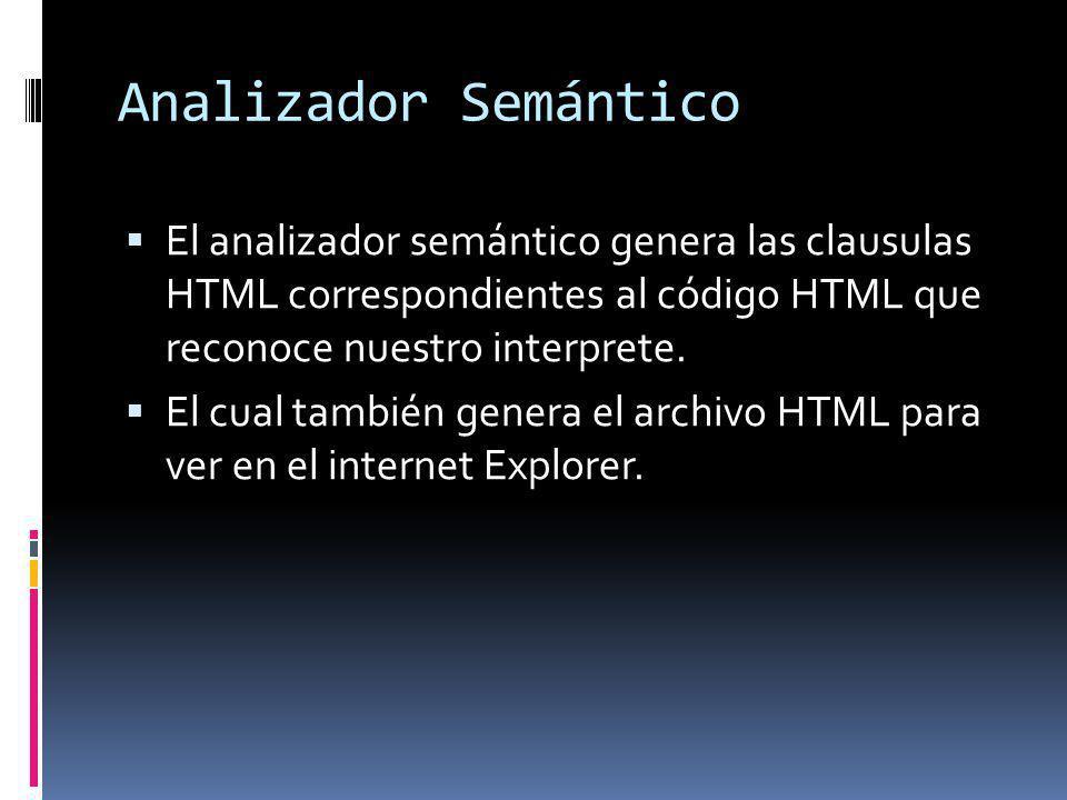 Analizador Semántico El analizador semántico genera las clausulas HTML correspondientes al código HTML que reconoce nuestro interprete.