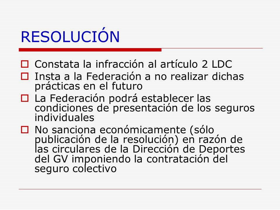 RESOLUCIÓN Constata la infracción al artículo 2 LDC