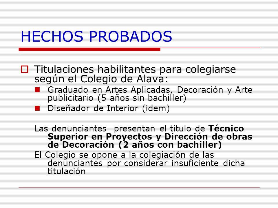 HECHOS PROBADOS Titulaciones habilitantes para colegiarse según el Colegio de Alava: