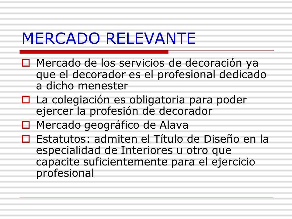 MERCADO RELEVANTE Mercado de los servicios de decoración ya que el decorador es el profesional dedicado a dicho menester.