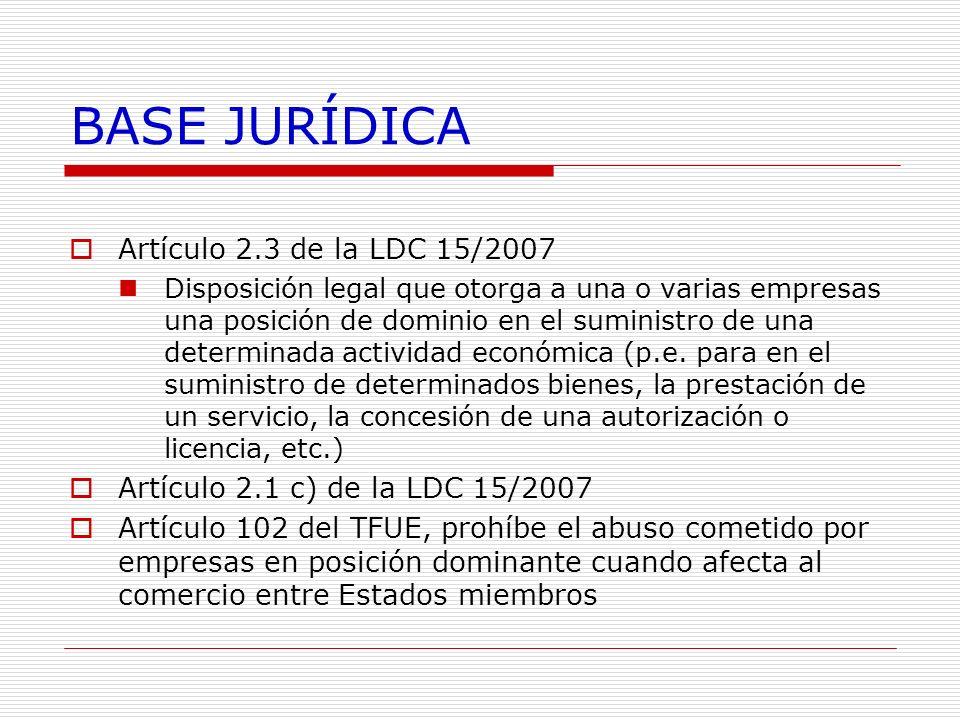 BASE JURÍDICA Artículo 2.3 de la LDC 15/2007
