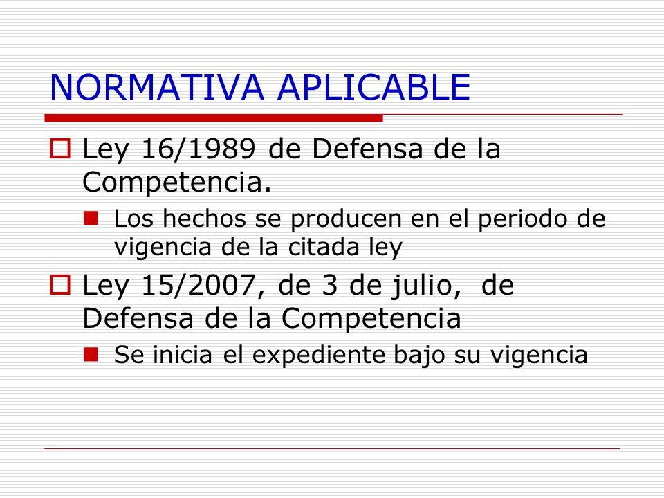 NORMATIVA APLICABLE Ley 16/1989 de Defensa de la Competencia.