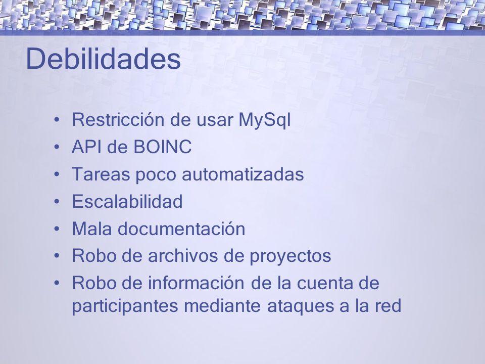 Debilidades Restricción de usar MySql API de BOINC
