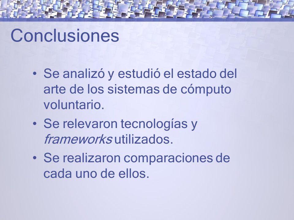 Conclusiones Se analizó y estudió el estado del arte de los sistemas de cómputo voluntario. Se relevaron tecnologías y frameworks utilizados.