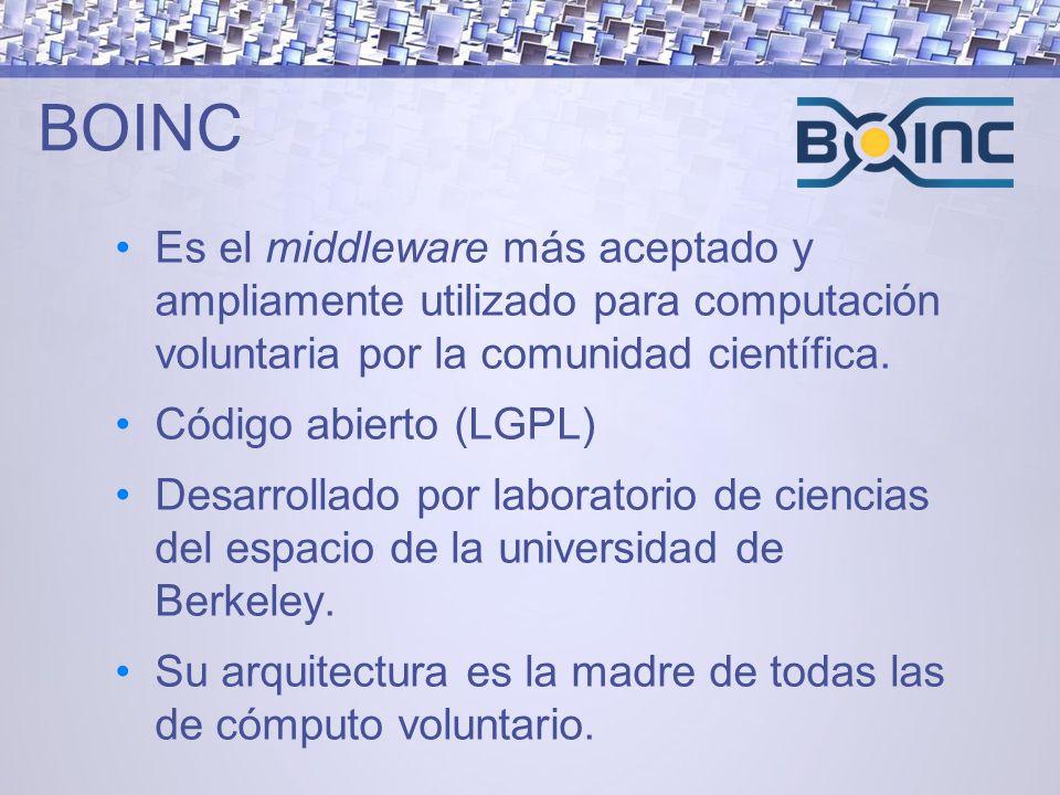 BOINC Es el middleware más aceptado y ampliamente utilizado para computación voluntaria por la comunidad científica.