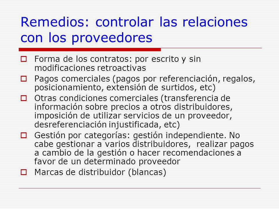 Remedios: controlar las relaciones con los proveedores