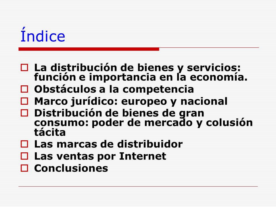 Índice La distribución de bienes y servicios: función e importancia en la economía. Obstáculos a la competencia.