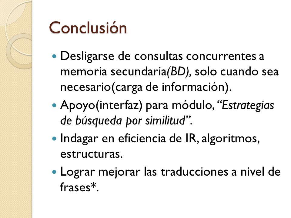 Conclusión Desligarse de consultas concurrentes a memoria secundaria(BD), solo cuando sea necesario(carga de información).