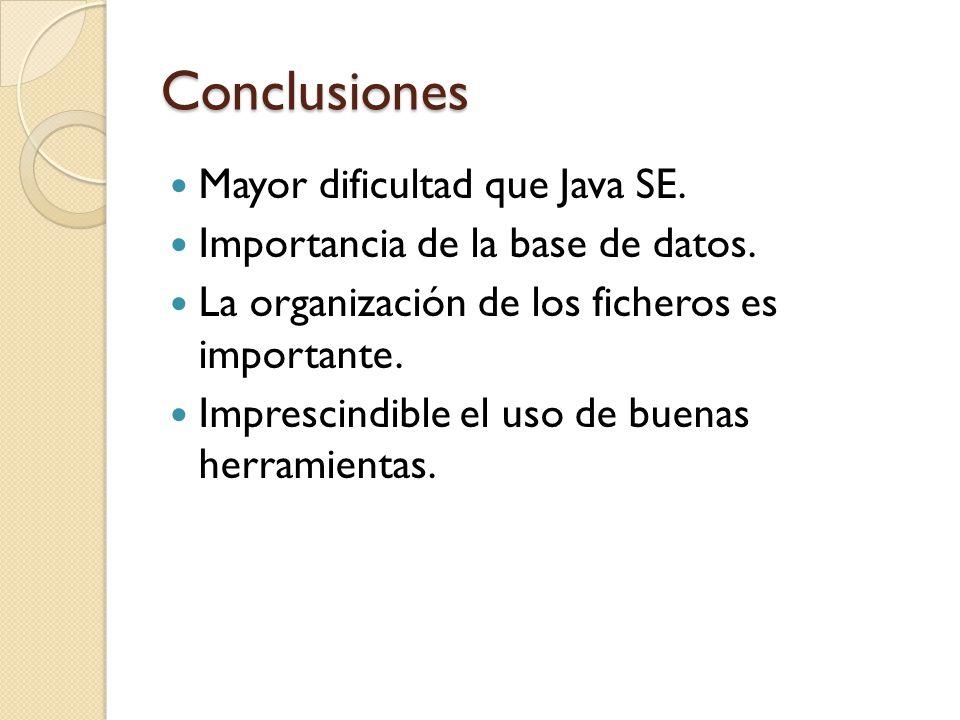 Conclusiones Mayor dificultad que Java SE.
