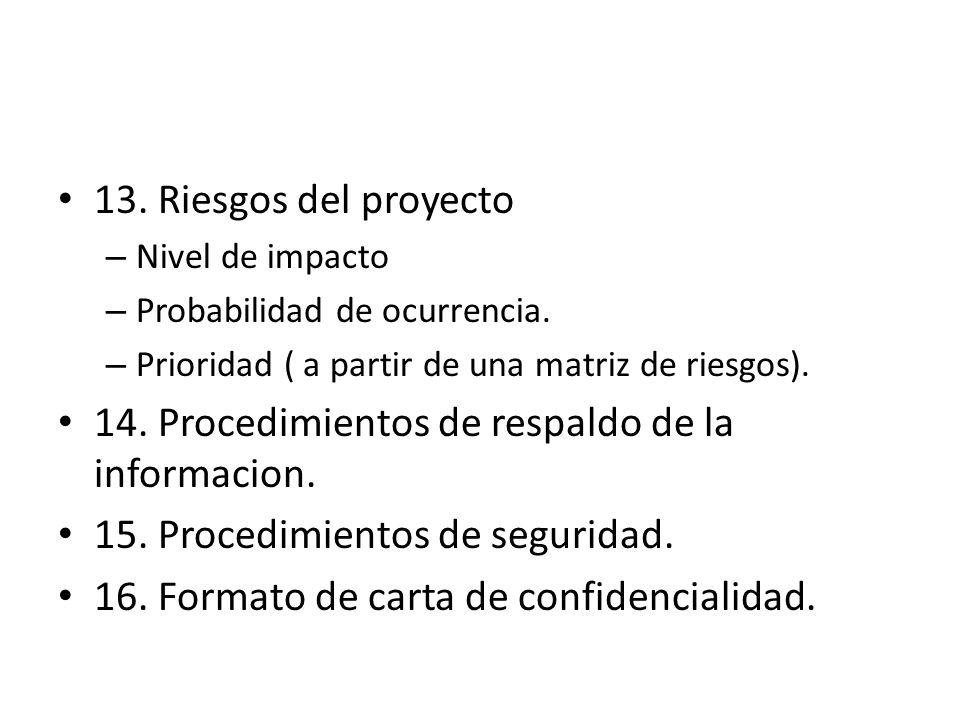 14. Procedimientos de respaldo de la informacion.