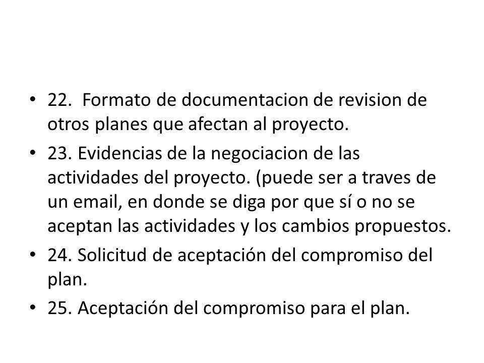 22. Formato de documentacion de revision de otros planes que afectan al proyecto.