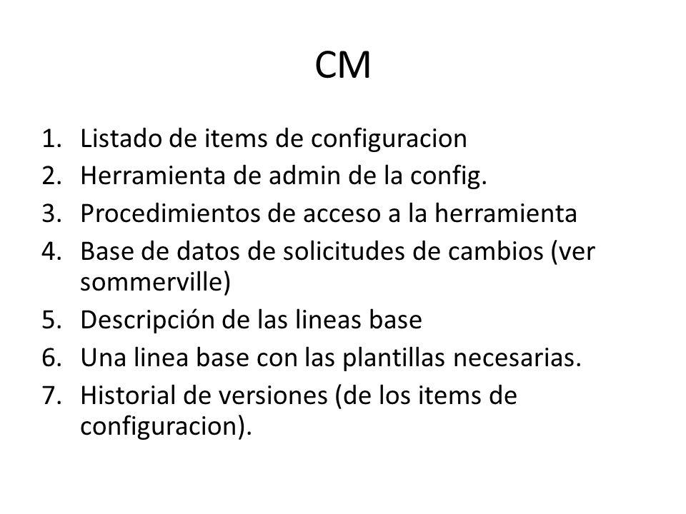 CM Listado de items de configuracion