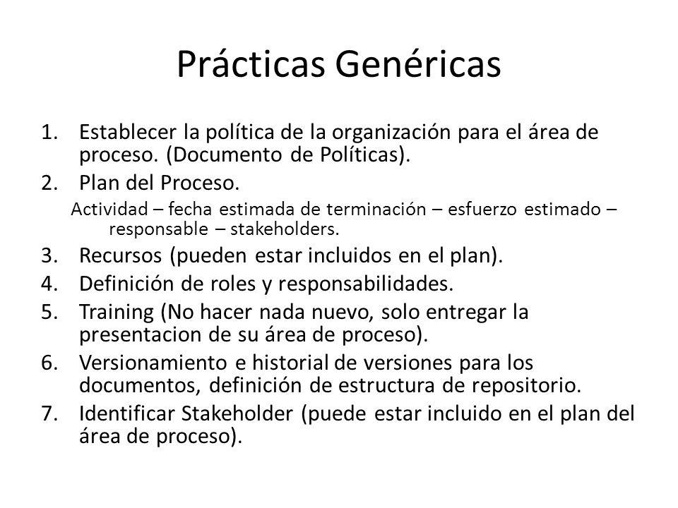 Prácticas Genéricas Establecer la política de la organización para el área de proceso. (Documento de Políticas).
