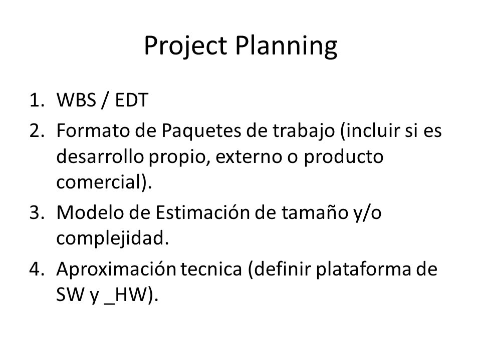 Project Planning WBS / EDT