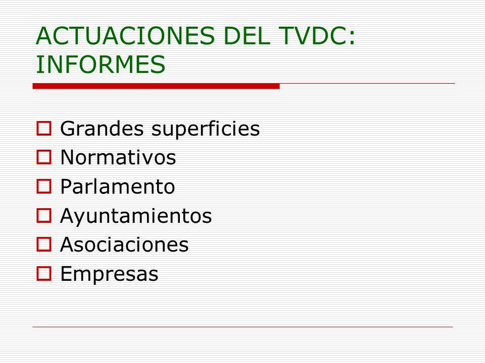 ACTUACIONES DEL TVDC: INFORMES