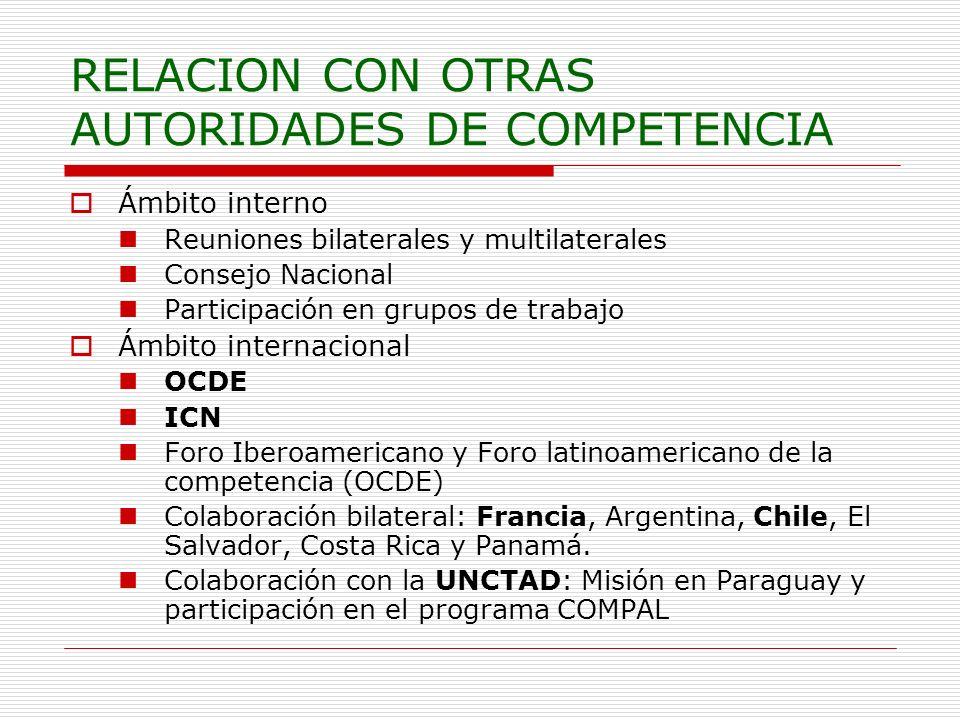 RELACION CON OTRAS AUTORIDADES DE COMPETENCIA