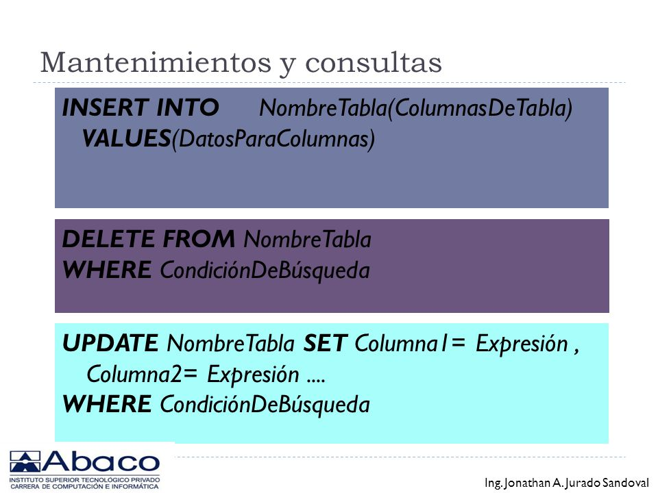 Mantenimientos y consultas