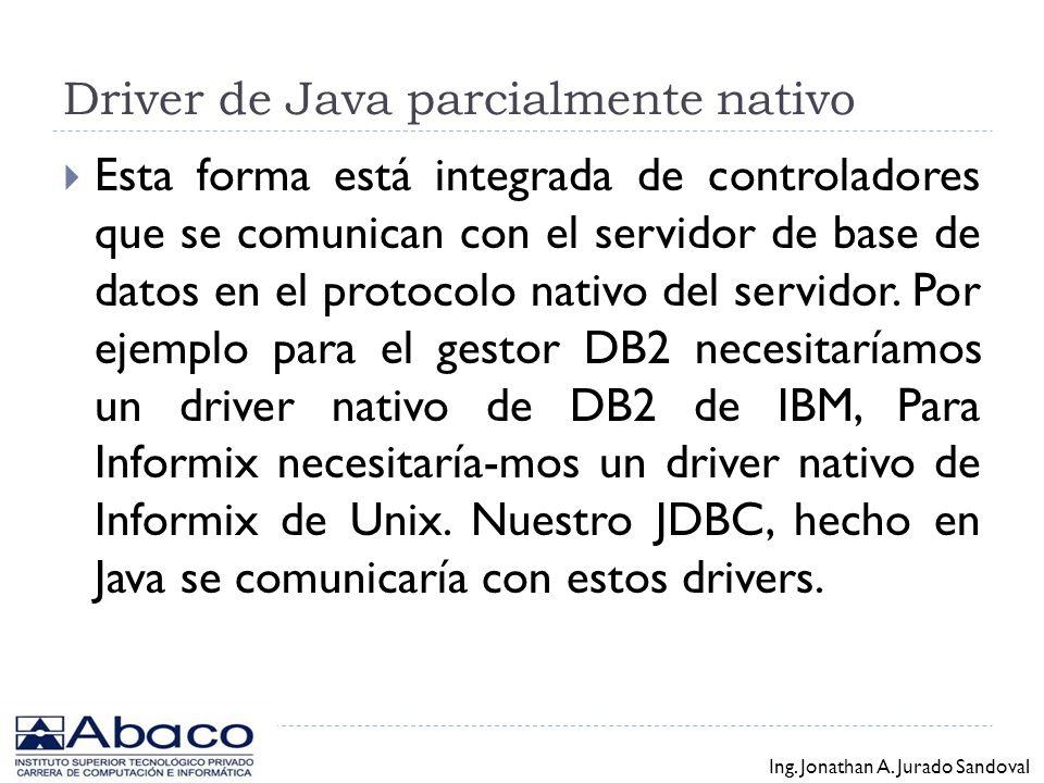 Driver de Java parcialmente nativo