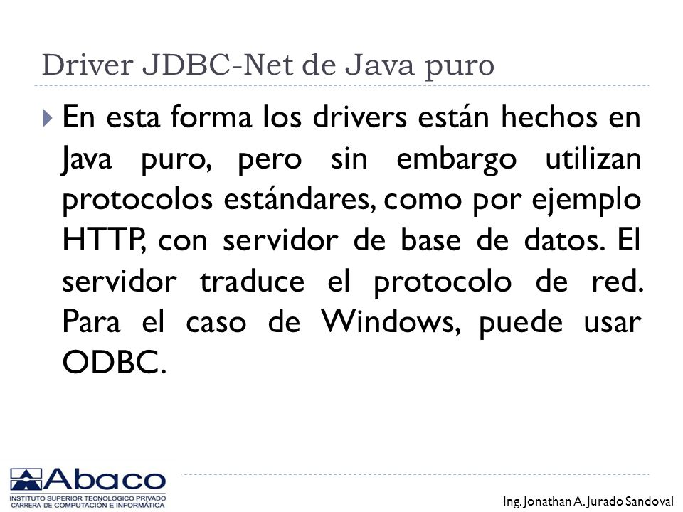 Driver JDBC-Net de Java puro