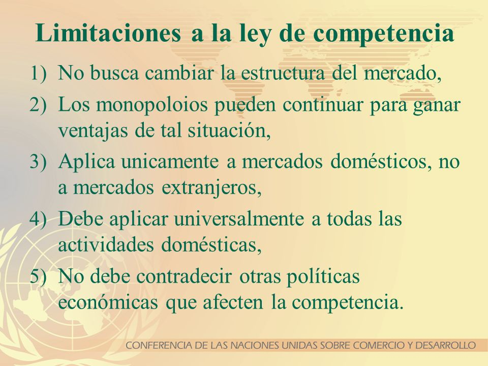Limitaciones a la ley de competencia