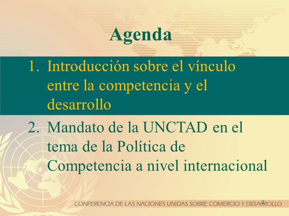 Agenda Introducción sobre el vínculo entre la competencia y el desarrollo.