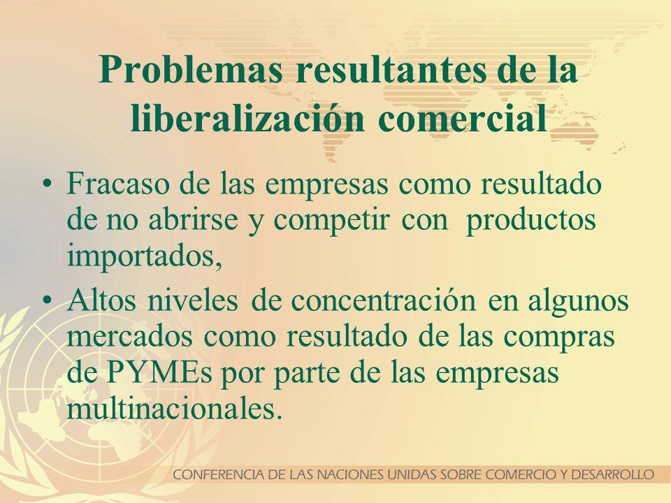 Problemas resultantes de la liberalización comercial