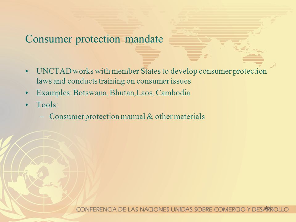 Consumer protection mandate