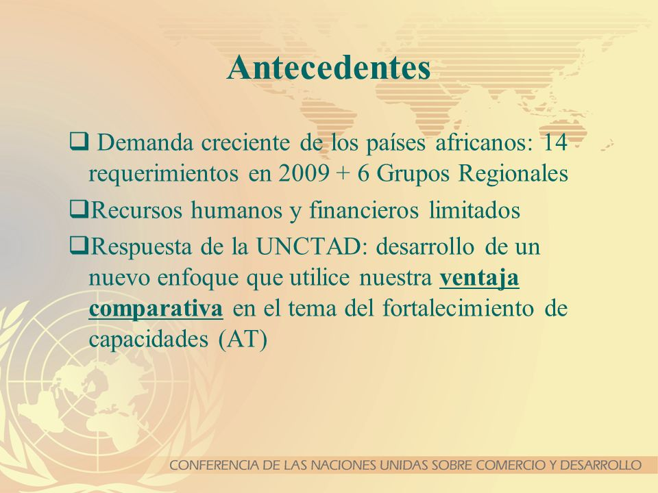 Antecedentes Demanda creciente de los países africanos: 14 requerimientos en 2009 + 6 Grupos Regionales.