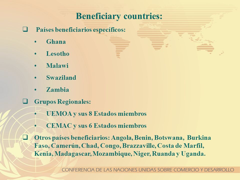 Beneficiary countries: