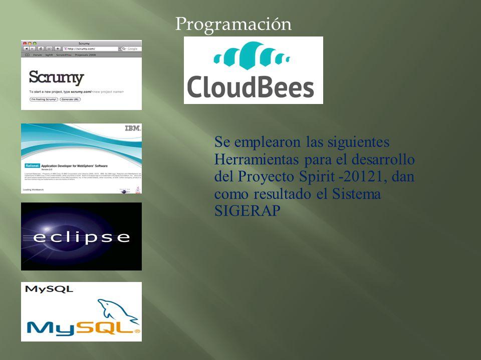 Programación Se emplearon las siguientes Herramientas para el desarrollo del Proyecto Spirit -20121, dan como resultado el Sistema SIGERAP.