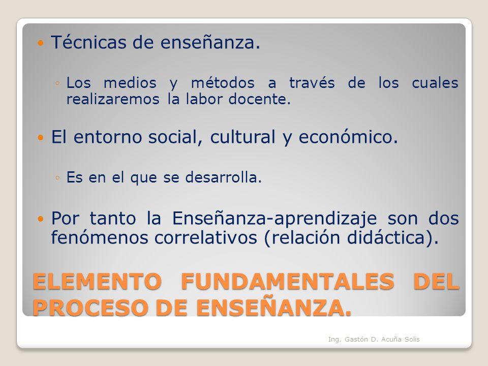 ELEMENTO FUNDAMENTALES DEL PROCESO DE ENSEÑANZA.