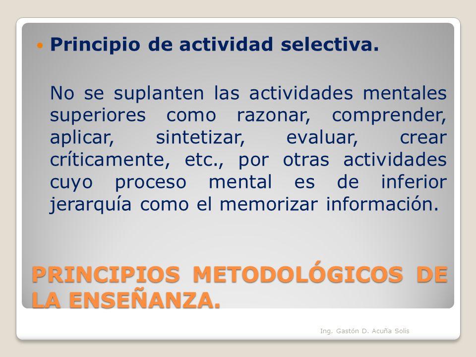 PRINCIPIOS METODOLÓGICOS DE LA ENSEÑANZA.