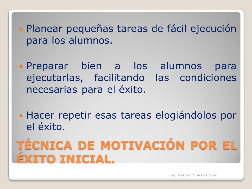 TÉCNICA DE MOTIVACIÓN POR EL ÉXITO INICIAL.