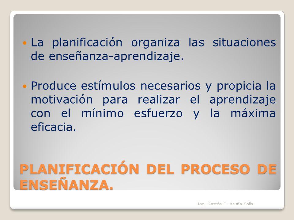 PLANIFICACIÓN DEL PROCESO DE ENSEÑANZA.