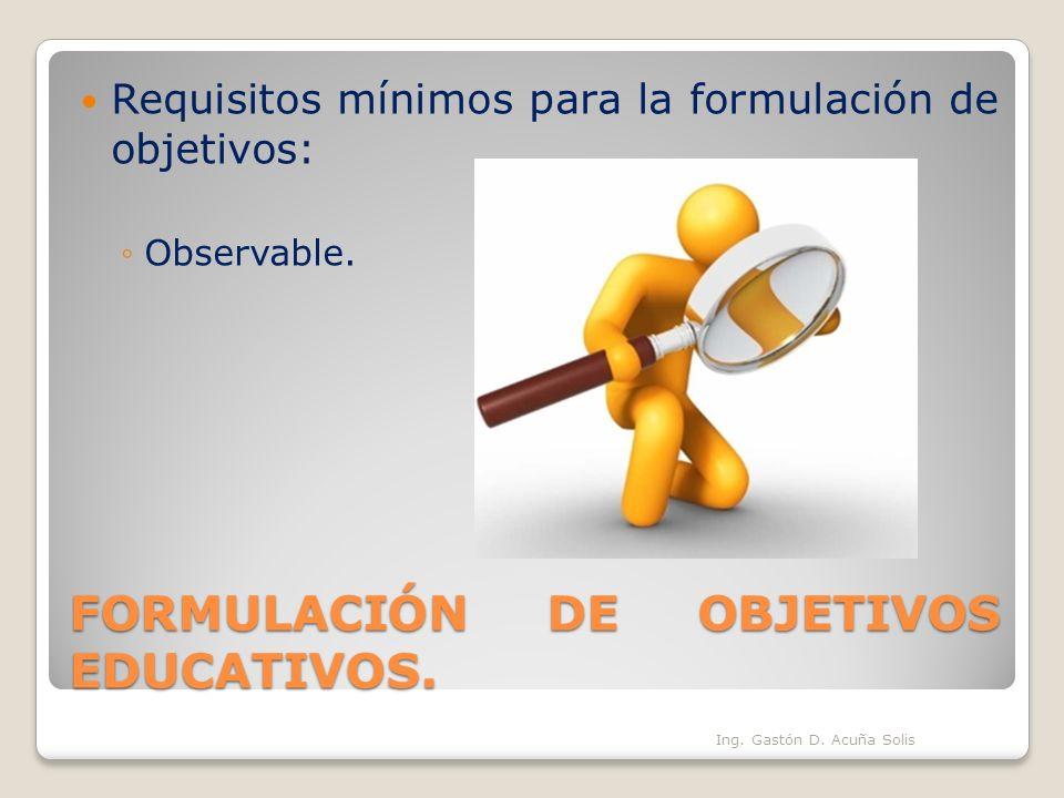 FORMULACIÓN DE OBJETIVOS EDUCATIVOS.