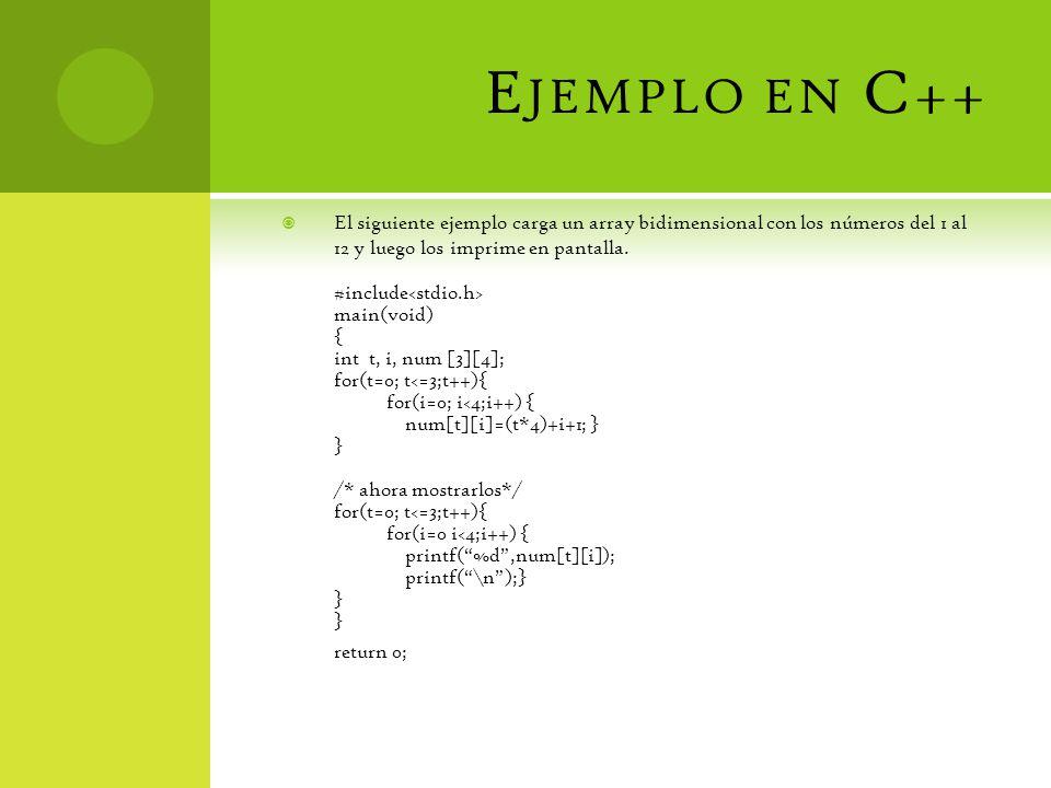 Ejemplo en C++ El siguiente ejemplo carga un array bidimensional con los números del 1 al 12 y luego los imprime en pantalla.